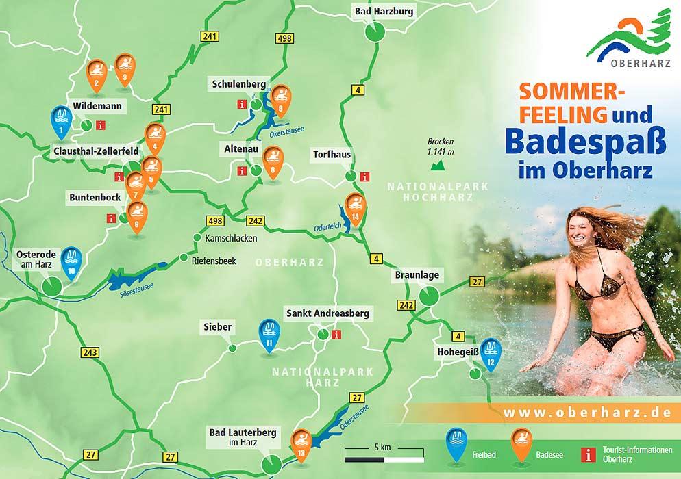 Landkarte der Badeseen und Badeteiche im Oberharz