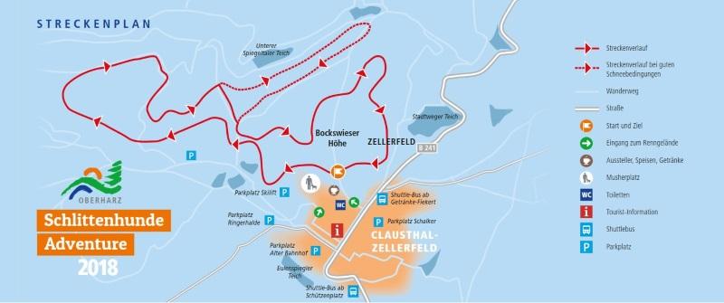Streckenplan und Anfahrt Oberharzer Schlittenhunde Adventure